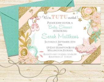 Gold Glitter Tutu Cute Baby Shower Invitation - Ballerina Mint Pink Printable Invite