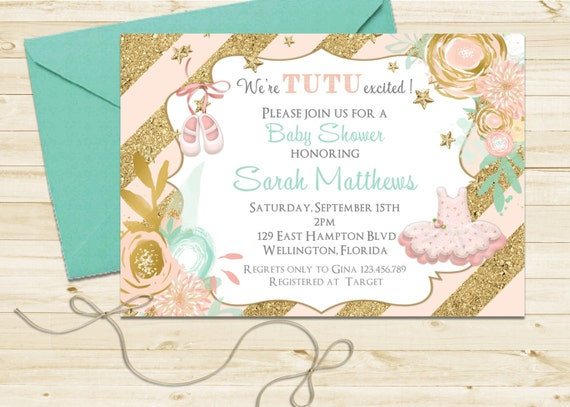 Gold Glitter Tutu Cute Baby Shower Invitation - Ballerina Mint Pink Printable Invite