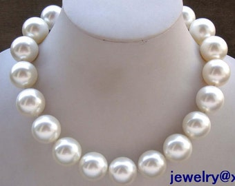 Free shipping-huge 20 mm white sea shell pearl fashion wedding necklace 15- 24 inch