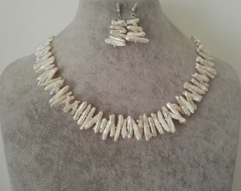 PEARL SET - 18inch white biwa pearl necklace earring set, free shipping