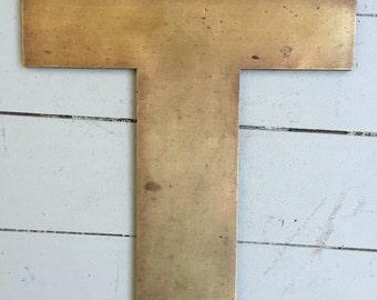 "Large Vintage Brass Industrial Letters: ""T"""