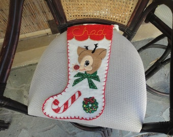 Vintage Christmas felt stockings with Reindeer and Chad embroidered on the top