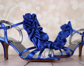 Blue Wedding Shoes, Ruffle Shoes, Something Blue Bridal Shoes, Blue Bridal Heels, Wedding Accessories, Custom Wedding Shoes, Bridal Sandals