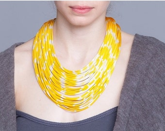 Statement necklace- Hand dyed necklace - multi strands necklace - textile necklace -  spring colors - ON SALE - pick your color