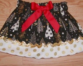Gold Christmas Trees ..Girls Christmas Skirt. Available in 0-12 months, 1/2, 3/4, 5/6, 7/8, 9/10 Bigger Sizes Available