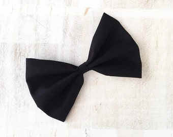 """Black Pin up Rockabilly large hair bow on clip - 6"""""""
