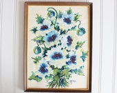 vintage watercolor painting, blue floral painting, vintage painting, blue watercolor painting, artwork, wall decor