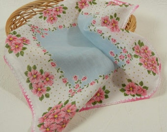 Vintage Pink and Blue Cotton Handkerchief with Hand Crocheted Edge Pink Flower Border