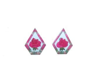 Vintage Earrings Transparent Pentagon Shaped Earrings Pressed Flowers Bright Pink Roses - Mid Century Screwback Earrings