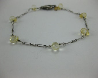 Sale 20% - Was 55.00 - Citrine - Oxidized Sterling Silver Bracelet - 3148