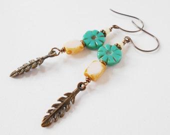 boho feather earrings, aqua drop earrings, artisan earrings, long dangle earrings, boho jewelry, bronze charm earrings, gift for her