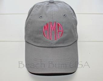 Grey Baseball Cap Circle Monogrammed Personalized Custom Embroidery Hat bio washed