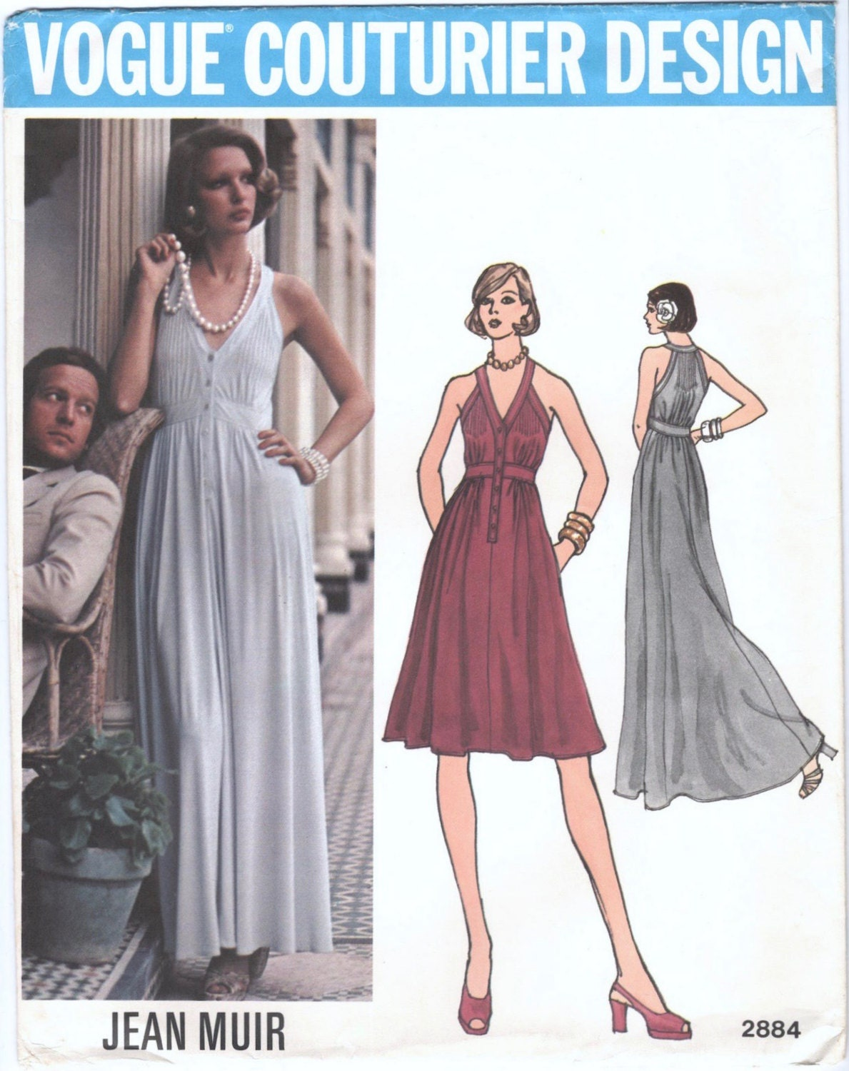 1970s Jean Muir evening dress pattern Vogue 2884