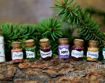 Snow White and the 7 Dwarfs Miniature Bottles of Magic, 8 Small Bottles, Mini Magic, Desk or Shelf Charms, by Life is the Bubbles