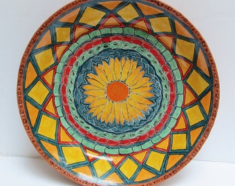 ceramic and pottery sunflower bowl/dish; ceramic bowl; hand built pottery; hand painted pottery; ceramic art