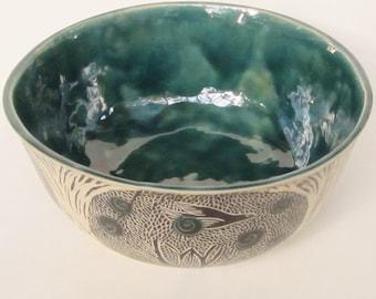 large  blue ceramic serving bowl; hand built pottery;sgraffito pottery