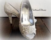 Wedding Bridal Heels Shoes - chic Ivory cream lace eyelet trim - Rhinestone Pearls - Shabby vintage inspired - platforms peep toe