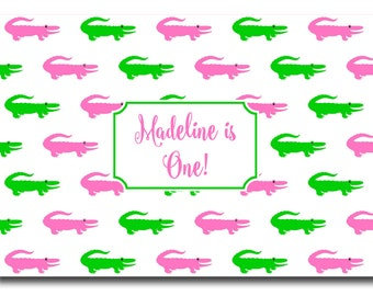 72 Color Choices - Personalized Preppy Alligator Disposable Placemats - set of 12 - Choose from 72 Colors
