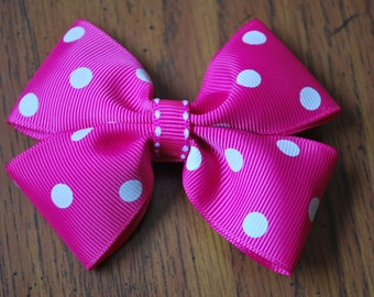 Pink Bow with White Polka Dots