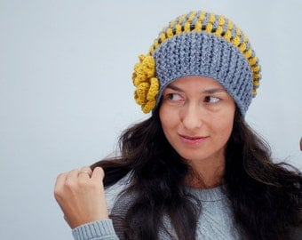 EXPRESS SHIPPING to US, Canada! Colorful beanie hat, chunky slouchy hat, big flower beanie, exclusive design stripped gray mustard beanie