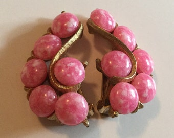 KRAMER Clip on Vintage Earrings Speckled PINK Bead Ear Climb
