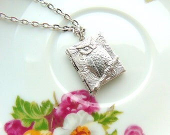 Locket Book & Owl Design Antique Silver Handcrafted by TheTown Tinker