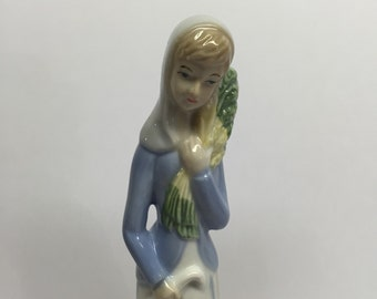 Vintage porcelain figurine Lladro like Women with Vegetable and small cane in her hand