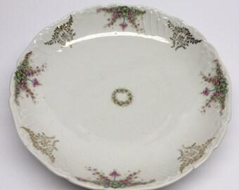 Carl Tielsch Altwasser Eagle Blue Ribbion Pink Flowers Scalloped China Bowl C T Germany Bowl  Flowered Serving Bowl