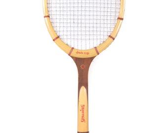 Vintage Wooden Tennis Racket / Antiqe Davis Cup Spalding Tennis Racket / Brown Wood Tennis Racket / Old Tennis Racket / Sports Decor