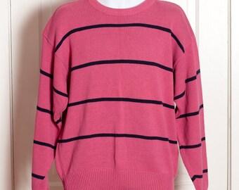 Vintage 80s 90s Men's Sweater - salmon pink black horizontal stripe