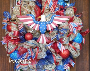 AMERICAN PRIDE Patriotic Wreath with EAGLE