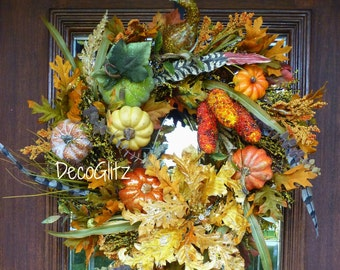 Beautiful Fall PUMPKIN Wreath with a YELLOW GLITTERED Flower and Beaded Corn