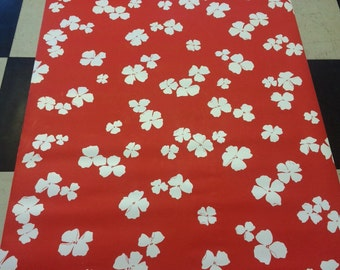 1970s Vintage wallpaper- white flowers on cherry red background-by the yard