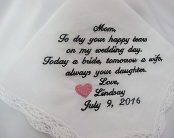 Wedding Handkerchief Embroidered for the Mother of the Bride