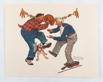 Vintage 1970's Norman Rockwell Fancy Footwork Embossed Print Old Timers Series