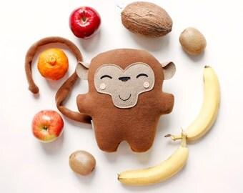 Monkey Bambak ... soft toy, cute plushie, personalized kids, best friend, chimp, ape