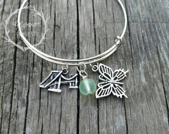 Michigan Bangle bracelet -Butterfly charm bracelet with bridge and sea glass-Jewelry for Her, Gift for Michiganders, Michigan students