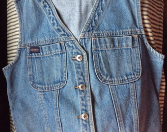 VINTAGE DENIM VEST, union bay, faded blue, metal buttons, sleeveless top