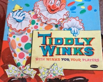 VINTAGE CLOWN GAME, Tiddly Winks, 1958 Whitman Publishing, child gam, collectible toy