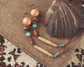 Long Earthy Eclectic Dangle Earrings