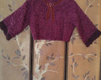 90s silk Dolce & Gabbana burgundy ruffle crop jacket