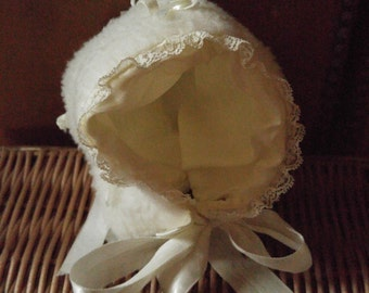 50s white furry baby bonnet with white ribbons