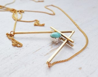 Gold Double V ision  Necklace, Turquoise and Moonstone Necklace, Gemstone Chevron Pendant Necklace, Geometric Necklace, Gold Necklace