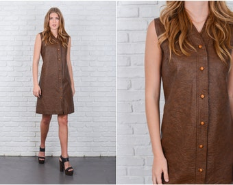Vintage 80s Brown Faux leather Dress A Line Sleeveless Shift Large L 6278