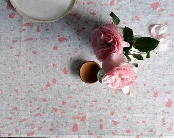 Blush Ink splatter linen table runner