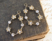 Brass Ox with Crystal Delicate Flower Hoop Findings Preciosa Rhinestones (2)
