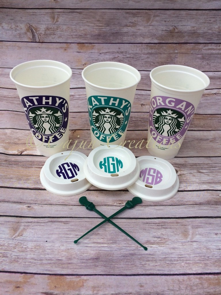 Personalized starbucks cup monogram lid starbucks tumbler for Starbucks personalized tumbler template