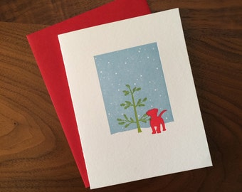 Red PuppyLetterpress Holiday Card