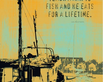 Teach a Man to Fish Fishing Vessel Ocean Quote Product Options and Pricing via Dropdown Menu