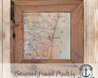 Heart in Lavalette, NJ - Framed in Reclaimed Barnwood Beach House Decor - Handmade Ready to Hang | Size and Price via Dropdown